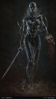 by Jaco Snyman Cyberpunk Girl, Cyberpunk Character, Dark Creatures, Fantasy Creatures, Dark Fantasy Art, Fantasy Girl, Armadura Cosplay, Vaporwave Art, Alien Design