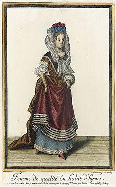 Recueil des modes de la cour de France, 'Femme de Qualité en Habit d'Hyver'  Nicolas Arnoult  1687