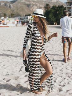 saída de praia longa preta e branca - moda praia / beachwear: