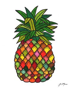 Groovy Psychedelic Pineapple Drawing- Bold Bright High-Contrast Retro Whimsical Beach Welcome- 11x14 Print of Original Art. $21.00, via Etsy.