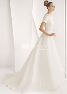 Classical White Satin A-line Sweep Luxury Wedding Dress love the simpleness