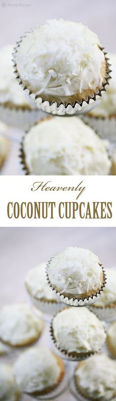 Coconut Cupcakes with Coconut Cream Cheese Frosting ~ One of the best cupcakes ever made. Rich and light coconut cupcakes with a creamy coconut frosting. ~ SimplyRecipes.com