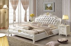 Cheap beds bedroom furniture, Buy Quality bedroom furniture directly from China style bedroom furniture Suppliers: European style king size white Synthetic Leather bed bedroom furniture from foshan furniture market