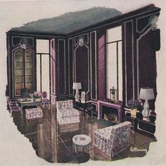 Interior by Billy Baldwin; drawing by Sheridan Kettering, House & Garden, Sept 1948 via The Peak of Chic