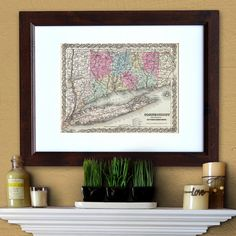 Antique Map of the State of Connecticut ca 1855 by PortofPrints