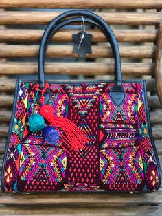 leather and Huipil from Tactic . 25  percent off  !has been discounted from Beautiful weekender bag handmade