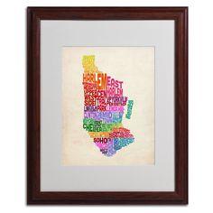 Manhattan Text Map by Michael Tompsett Matted Framed Textual Art