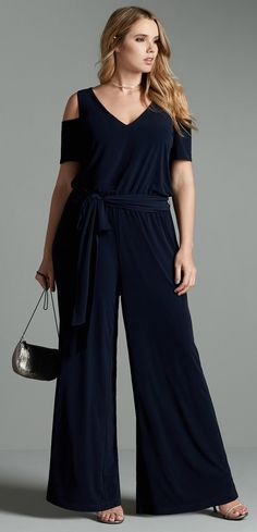 Plus Size Belted Jersey Cold Shoulder Jumpsuit