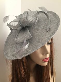Fascinator Hat silver Grey Saucer headpiece on hairband   Etsy Silver Fascinator, Fascinator Hats, Fascinators, Headpiece, Wire Headband, Silver Headband, Hat For The Races, Grey Hat, Mannequin Heads