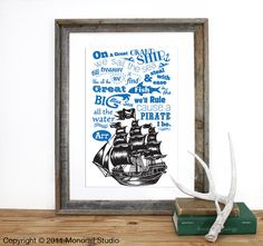 So sweet for a kid's room. Found on etsy.  http://www.etsy.com/listing/82938295/i-be-a-pirate-rhyme-verse-screenprint