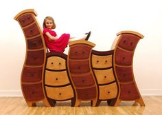 Seuss meets Alice In Wonderland whimsical furniture is created by Judson Beaumont of Straight Line Designs. Funny Furniture, Unusual Furniture, Baby Furniture, Wooden Furniture, Cool Furniture, Furniture Design, Children Furniture, Furniture Dolly, Bedroom Furniture