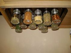 Would be GREAT for the RV - Screw a Cookie sheet inside the top of a cabinet or underneath a shelf. Add magnets to the tops of spices and VIOLA!!!