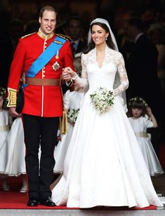 Kate Middleton and Prince William- The royal duo tied the know on April 29, 2012. The bride stunned the world in a custom Alexander McQueen gown with lace sleeves.