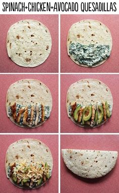 Spinach, chicken and avocado quesadilla