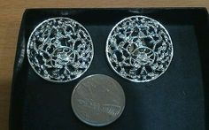 Vintage statement silver tone round clip on earrings, Sarah Conv, awesome