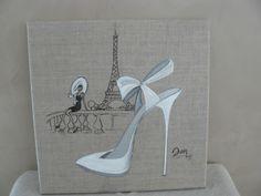 A Paris, quand un amour sourit...... Acrylique et encre de chine sur toile de lin : Peintures par danetgeo