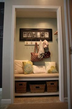 Entry closet bench and hang purses. Leave shelving for storage boxes