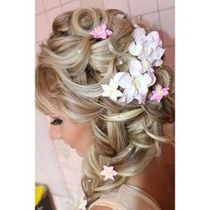 With a flowers braid and straight bang for a wedding