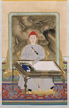 Portrait of the Kangxi Emperor in Informal Dress Holding a Brush, Kangxi period (1662—1722), by anonymous court artists. Hanging scroll, ink and colour on silk. The Palace Museum, Beijing. - via