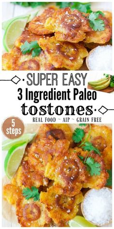 Easy 3 Ingredient Paleo Tostones are epic! Thesecrispy, sinfully delicious, twice-fried green plantains are commonly known as Tostones or Patacones in different Latin American countries like Puerto Rico, Cuba, Colombia,Guatemala, Costa Rica and more. They're so easy to make and come together in less than 30 minutes from prep start to finish.| Recipes to Nourish