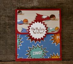 Super Hero Birthday Gift Card Holder ~  Mini Envelope ~ Money Holder ~ Card Sleeve ~ Card Holder With Envelope ~ For A Boy Card by MyLilCraftyRoom on Etsy