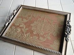 serving tray made from picture frame, fabric and drawer pulls/handles
