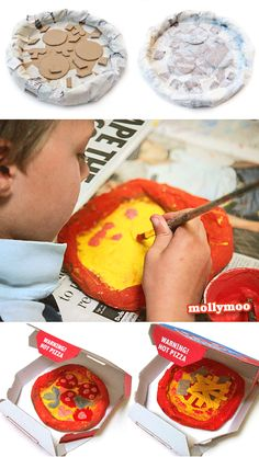 Papier Mache Pizzas - By far the hit of this week's summer camp were these papier mache pizzas. I think it was the possibilities for trickery that got the kids more excited than the actual making of them :) jump over the MollyMoo for all the step by step how to make photos... http://mollymoo.ie/2012/08/papier-mache-pizzas/