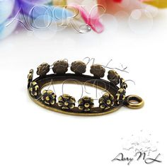 1pcs Antique Color Brass Flower Crown Bezel Pendant by AoryNL