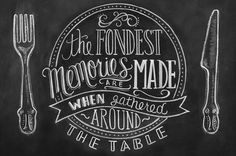 The fondest memories are made when gathered around the table. Chalkboard Art Kitchen, Chalkboard Lettering, Chalkboard Designs, Chalkboard Quotes, Blackboard Art, Chalkboard Print, Chalkboard Ideas, Fall Chalkboard, Chalkboard Doodles