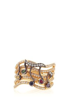 Music Notes Pink Diamonds, Color Stones, And 18K Rose Gold Ring by Anna Hu Haute Joaillerie for Preorder on Moda Operandi