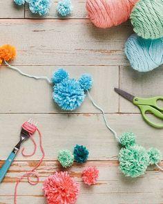Mickey Mouse Pom Pom Garland - Disney DIY