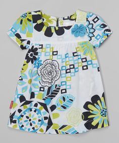 Another great find on #zulily! Turquoise Floral Square-Neck Dress - Toddler & Girls by Blossom Couture #zulilyfinds