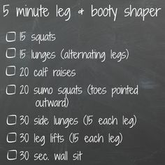 5 min leg and booty shaper - get bathing suit ready, no excuses. These exercises are quick, simple, and can be done anywhere. No gym necessary! Tone your booty and thighs just a few minutes at a time. Zumba, 5 Min Workout, Workout Routines, Workout Ideas, Fitness Routines, Fitness Fun, Workout Plans, Lose Weight Quick, Health And Fitness Tips