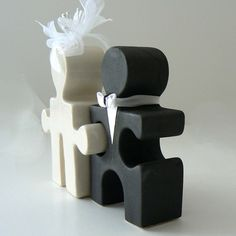 Salt and Pepper Puzzle People Wedding Cake Topper by celestewelch