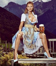 Bavarian beer from Munich is best drunk in the Alpes. Enjoy your liter of Spaten and show us more of those nipples.