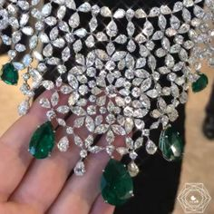 Chopard. Via Bérengère Treussard|Like a b (@likeab) on Instagram: This is really a masterpiece by @chopard amazing necklace all articulated in pear shape and marquise diamonds and amazing emeralds from Zambia what a beauty thank you @chopardbycaroline for such a beauty - credit #berengeretreussard @likeab #chopard #likeab #highjewelry #hautejoaillerie #emerald #diamond #diamondnecklace #chopardhighjewellery #jewels #necklace #pfw2018 #coutureweek #parishautecouture