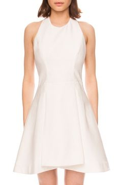 Free shipping and returns on C/MEO 'Own Way' Fit & Flare Dress at Nordstrom.com. Well-tailored front darts and crisp pleats add flattering definition to a party-ready fit-and-flare dress styled with a skin-baring exposed back and high halter neckline.
