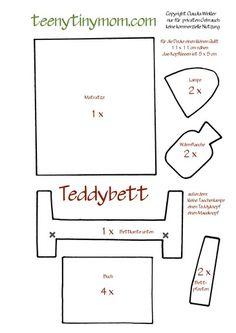 Schablone für das Teddy Schlafzimmer im Quiet book. Template Quiet book. LED light #interactivebook