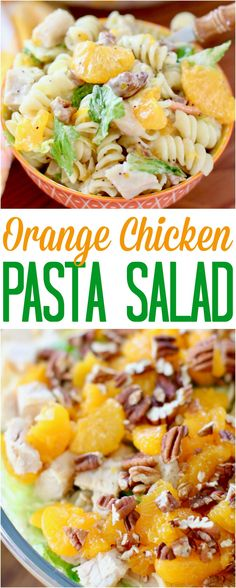 Orange Chicken Pasta Salad with Orange Poppyseed Dressing recipe from The Country Cook #recipes #chicken #pasta #salads #mandarinoranges #pecans #easy #picnic #summer #lunch