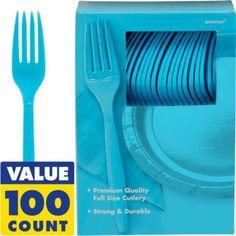 Caribbean Blue Premium Plastic Forks 100ct - Party City 7.99