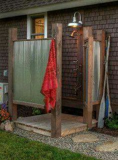 Simple, rustic outdoor shower but gets the job done! Simple, rustic outdoor shower but gets the job done! Simple, rustic outdoor shower but gets the job done! Outdoor Bathrooms, Outdoor Rooms, Outdoor Living, Outdoor Decor, Rustic Outdoor, Outdoor Kitchens, Outdoor Baths, Country Bathrooms, Simple Outdoor Kitchen