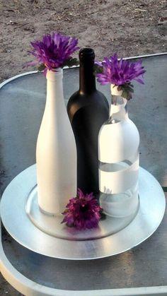 Wedding Centerpieces Flowers Purple Wine Bottles 37 Ideas Wedding Centerpieces Flowers Purple Wine B Wine Bottle Centerpieces, Wedding Wine Bottles, Flower Centerpieces, Wedding Centerpieces, Wedding Decorations, Wedding Ideas, Centerpiece Ideas, Trendy Wedding, Wine Bottle Crafts