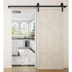 VeryCustom 36 in. x 84 in. Hollywood Parchment Wood Sliding Barn Door with Hardware - The Home Depot : VeryCustom 36 in. x 84 in. Hollywood Parchment Wood Barn Door with Sliding Door Hardware Kit - - The Home Depot Sliding Door Window Treatments, Wood Barn Door, Wood Doors, Black Interior Doors, Interior Trim, Interior Design, Garage Door Design, Garage Doors, Closet Doors