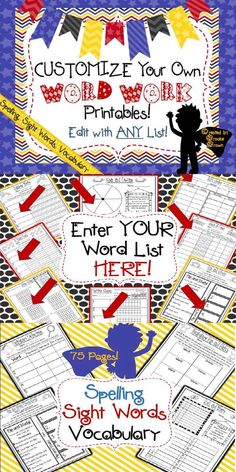 Customize your OWN Word Work Printables for Spelling, Sight Words, or Vocabulary! EDITABLE for any word list! | Literacy Centers | Work Stations