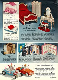 Suzy Goose Barbie Furniture, Ken's Hot Rod and Barbie's Austin-Healey Sports Car from the Sears Christmas Catalog, 1960's