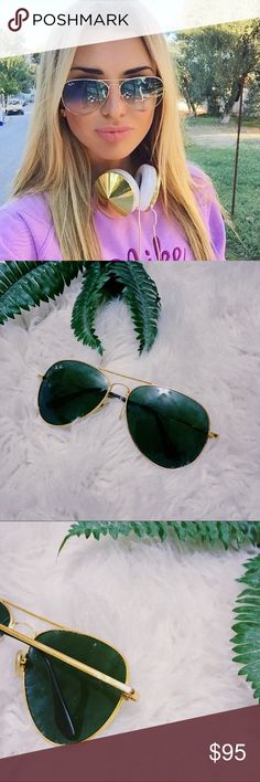 American Ewasl Gold Raybans Sunglasss  Gold large metals  Great condition  Only wore a hand full of times this year.  No cracks are scratches just need to be cleaned a bit  Authentic raybans Ray-Ban Accessories Sunglasses