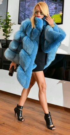 blue-dyed fox furs