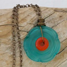 Disk Bead Flower Necklace in Teal and Orange