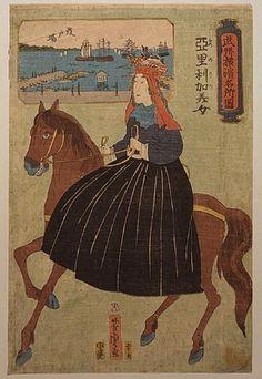 American lady riding sidesaddle in nineteenth-century Japan, as viewed by artist Yoshitori Utagawa
