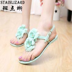 c967a0db774ae 2016 New Summer Tidal current T type Flat heel Woman Sandals Jelly flower flip  flops Crystal